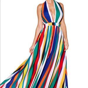 Boston proper striped halter maxi dress NWT